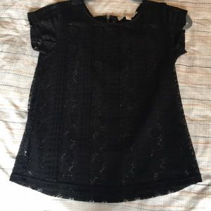 Loft black lace tshirt